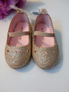 CARTER'S BABY GIRLS ELLARIA MARY JANE FLAT DRESS SHOES GOLD SIZE: 4 TODDLER
