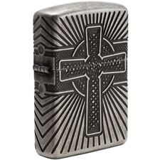 "Zippo ""Celtic Cross"" Antique Silver Plated Armor Lighter, 2-Sided,  29667"