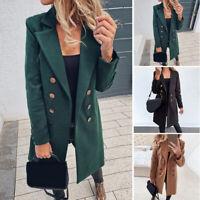 Ladies Long Sleeve Lapel Trench Jacket Warm Winter Loose Blazer Outwear Overcoat
