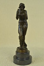 "Art Nouveau  bronze nude drinking from a bowl Sculpture Marble Figurine 17"" Tall"