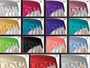 Round Square Silky Satin Table Cover Banquet Restuarant Wedding Party Display