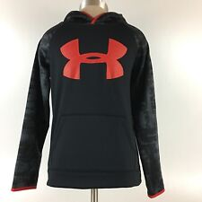 Under Armor Cold Gear Loose Red Black Hoodie Sweatshirt Hooded Size Youth Medium