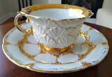 Fine Antique Meissen Gold Encrusted Teacup Saucer AS-IS