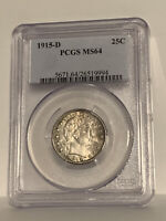 🌟AWESOME!🌟 MS-64 1915-D Barber Quarter PCGS TONS of luster on this coin!!!