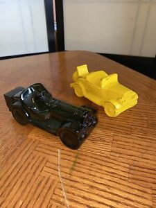 Two Vintage Avon for men Cars - Straight eight green glass car & A Yellow Car