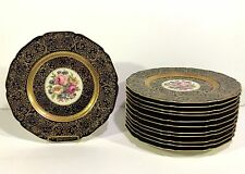 Set 12 BLACK KNIGHT Bavarian Cobalt & Gold Floral Decorated CABINET PLATES