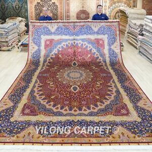 Huge Handmade Silk Area Carpet 9.2x12ft Red Oriental hand knotted Rug 282A
