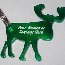 1 Personalized Moose Key Chain /  Bottle Opener - GREEN