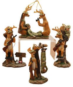 Funny Hunter Deer Man Bait Christmas Holiday Ornaments Set of 4