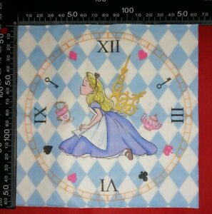 4 ALICE IN WONDERLAND PAPER NAPKINS - IDEAL Decoupage Scrapbooking Journal Diary