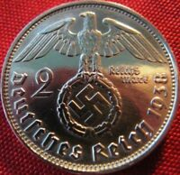 Nazi German 2 Reichsmark SILVER 1938 Genuine Coin Third Reich EAGLE SWASTIKA WW2