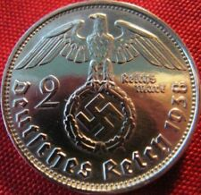 Nazi German 2 Reichsmark SILVER 1938 Genuine Coin Third Reich EAGLE SWASTIKA