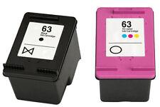 2x REM HP63 ink cartridges F6U62AA black+F6U64AA colour for HP2130,3630