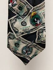 VINTAGE 1995 LOONEY TUNES MANIA $100 BILL TIE Sylvester Daffy Duck Bugs Taz USED