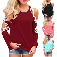 Women Off Shoulder Blouse Lace Top Long Sleeve Blouse Ladies Casual Tops Shirt