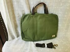 Line of Trade Canvas Briefcase Green Laptop Bag W/ Strap & Leather Handles