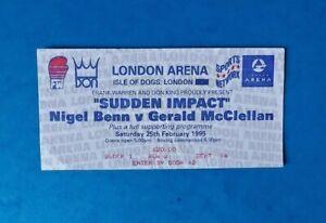 1995 - Nigel Benn v Gerald McClellan, WBC Super-Middleweight Title Fight Ticket.