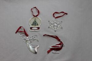 Lot of 4 Harvey Lewis Christmas Holiday Ornaments Swarovski Globe Angel Cardinal
