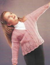 "Girls Lace Cardigan Knitting Pattern 20-30"" DK. 314"