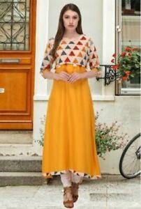 Kurti Rayon Indian Women Top Designer Casual Tunic Pakistani  Ethnic Kurta Long