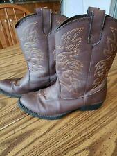 DEER STAGS RANCH DARK BROWN Pull-On Embroidered Cowboy Western Boot Size 4