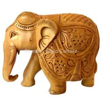 Indian Wooden Brown Elephant Carved Hanging Wall Art Collectible Elephant Wild