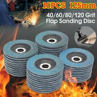 10X 5'' 125mm Flap Discs Wheels Grinding Sanding 40 60 80 120 Grit Angle Grinder