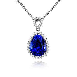 "Sapphire Diamond Cluster Pendant Water Drop Necklace 925 Silver 18"" Chain"