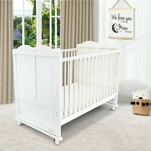 iSafe Baby Cot Bed Toddler Bed Junior CotBed Adam (White) (Including Mattress)