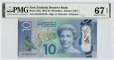 New Zealand 2015 P-192a PMG Superb Gem UNC 67 EPQ 10 Dollars