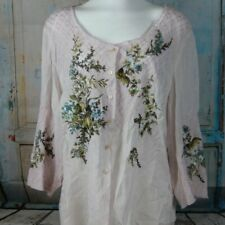 J. Jill Women's Sheer Pink Embroidered 3/4 Sleeve Scoop Neck Blouse Top Size XL