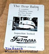 vintage FURNESS CARAVAN TIN SIGN Australian metal advert retro art bondwood NEW