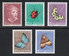 Switzerland 1952 MNH Mi 575-579 Sc B217-B221 Insects & butterflies **
