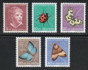 Switzerland 1952 MNH Mi 575-579 Sc B217-B221 Insects & butterflies **
