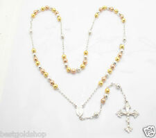 """6mm 26"""" MENS TRI-COLOR DISCO BALL ROUND BEAD ROSARY CHAIN NECKLACE CROSS SILVER"""