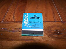 ACE MOTOR HOTEL Association Inc Seattle 3 Washington WA Rare 1940's Matchbook