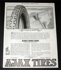 1919 OLD MAGAZINE PRINT AD, AJAX ROAD KING TIRE, GREAT STRENGTH LIKE A DAM, ART!