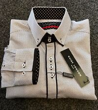 "GUIDE LONDON Shirt. White/black. Micro Dot. Medium. 40"" Chest.Button Feature."