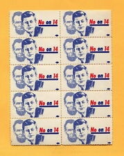 1964 CALIFORNIA  Anti PROP 14 CIVIL RIGHTS HOUSING DISCRIMINATION Protest Stamps