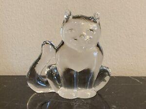 Kosta Boda Art Glass Zoo Series Crystal Cat Figurine Paperweight