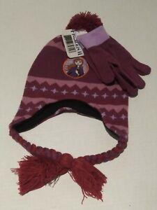 Disney FROZEN 2 Anna Snow Beanie Hat And Gloves Set Maroon/Purple-NEW