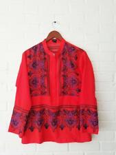J.Crew Orange Pink Blue Paisley Print Popover Tunic Blouse Long Sleeve XS red