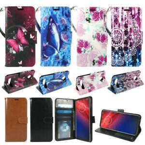 For Motorola Moto Z4 verizon PU Leather Wallet Phone Case Flip Stand Strap Card