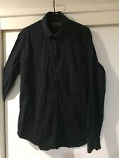 Zara Man Black Button Front Shirt Tailored Fit Size M Good Condition