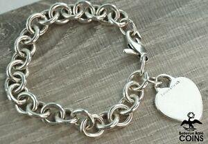Tiffany & Co. Sterling Silver Heart Tag New York Link Bracelet