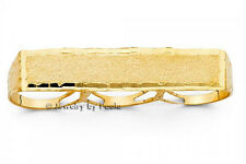 14k Solid Gold Nugget Design Three Finger men Name Ring High Polished and Bold