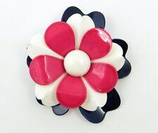 VTG Patriotic Red White Blue Enamel Flower Pin