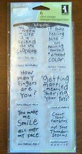 "Inkadinkado Clear Stamp Set of 6-""Friendly Advice""-NIP"