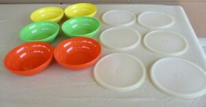 6 VINTAGE TUPPERWARE  CEREAL BOWLS #155 WITH 6 Lids