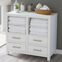 Classic White Freestanding Bathroom Storage Cabinet For Linens Toiletries Chest